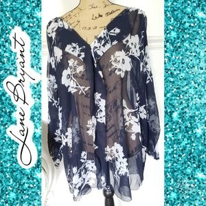 26/28 Sheer floral Lane Bryant top shirt summer